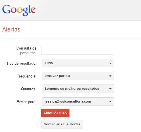 página inicial do Google Alerts