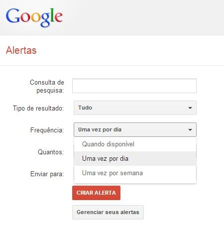 frequência Google Alerts