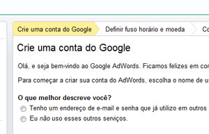 Criando conta do Google AdWords